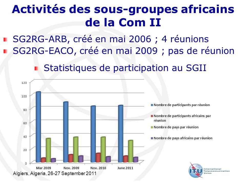 Algiers, Algeria, 26-27 September 2011 8 Activités des sous-groupes africains de la Com II SG2RG-ARB, créé en mai 2006 ; 4 réunions SG2RG-EACO, créé en mai 2009 ; pas de réunion Statistiques de participation au SGII