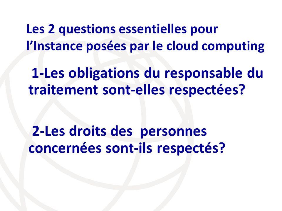 Les 2 questions essentielles pour lInstance posées par le cloud computing 1-Les obligations du responsable du traitement sont-elles respectées? 2-Les