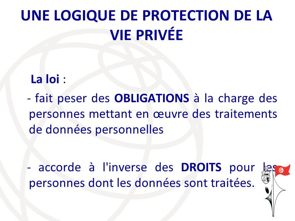 UNE LOGIQUE DE PROTECTION DE LA VIE PRIVÉE La loi : - fait peser des OBLIGATIONS à la charge des personnes mettant en œuvre des traitements de données