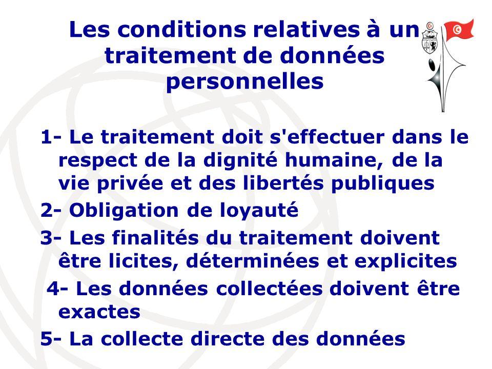 Les conditions relatives à un traitement de données personnelles 1- Le traitement doit s'effectuer dans le respect de la dignité humaine, de la vie pr