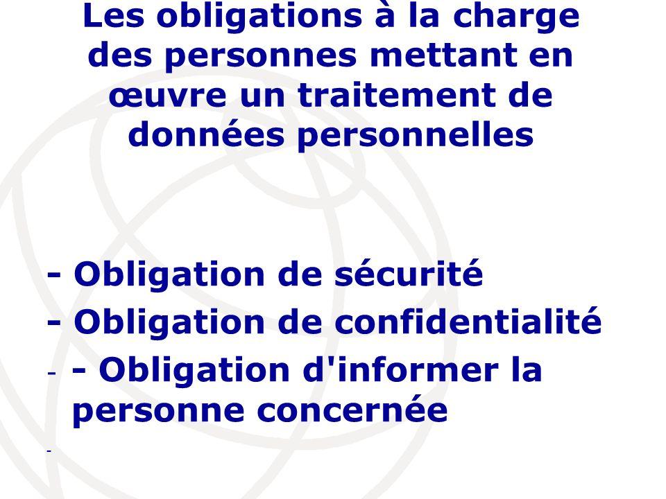 Les obligations à la charge des personnes mettant en œuvre un traitement de données personnelles - Obligation de sécurité - Obligation de confidential