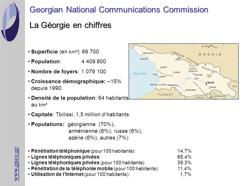 www.gncc.ge La Géorgie en chiffres Georgian National Communications Commission Superficie (en km² ): 69 700 Population: 4 409 800 Nombre de foyers: 1