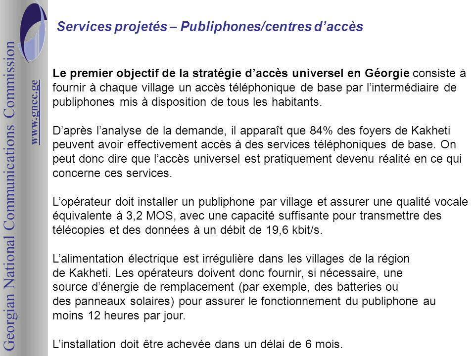 Services projetés – Publiphones/centres daccès www.gncc.ge Le premier objectif de la stratégie daccès universel en Géorgie consiste à fournir à chaque