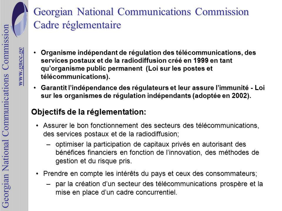 Georgian National Communications Commission Cadre réglementaire Assurer le bon fonctionnement des secteurs des télécommunications, des services postau