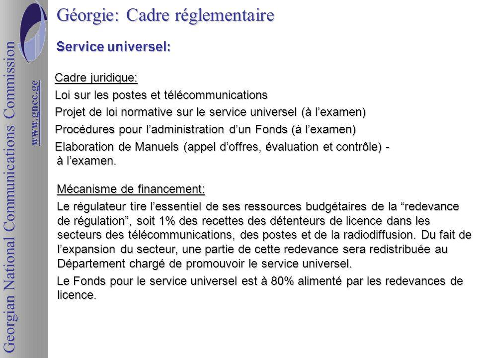 Géorgie: Cadre réglementaire www.gncc.ge www.gncc.ge Georgian National Communications Commission Service universel: Service universel: Cadre juridique
