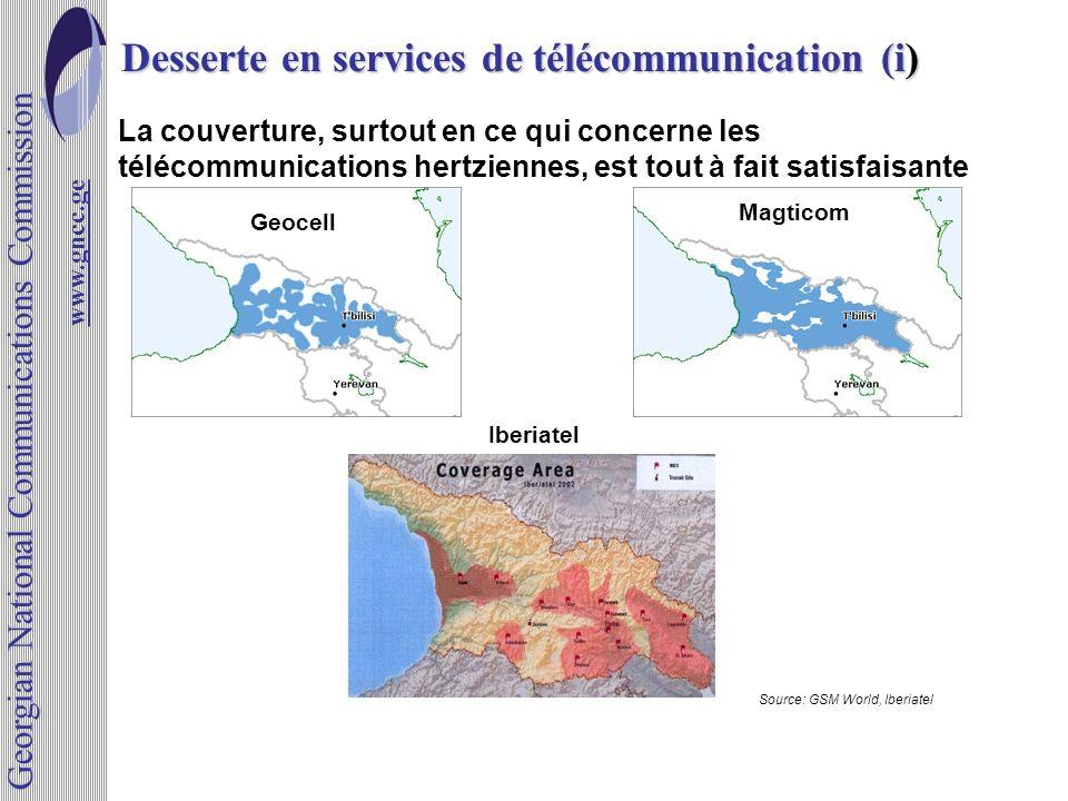 Desserte en services de télécommunication (i) La couverture, surtout en ce qui concerne les télécommunications hertziennes, est tout à fait satisfaisa