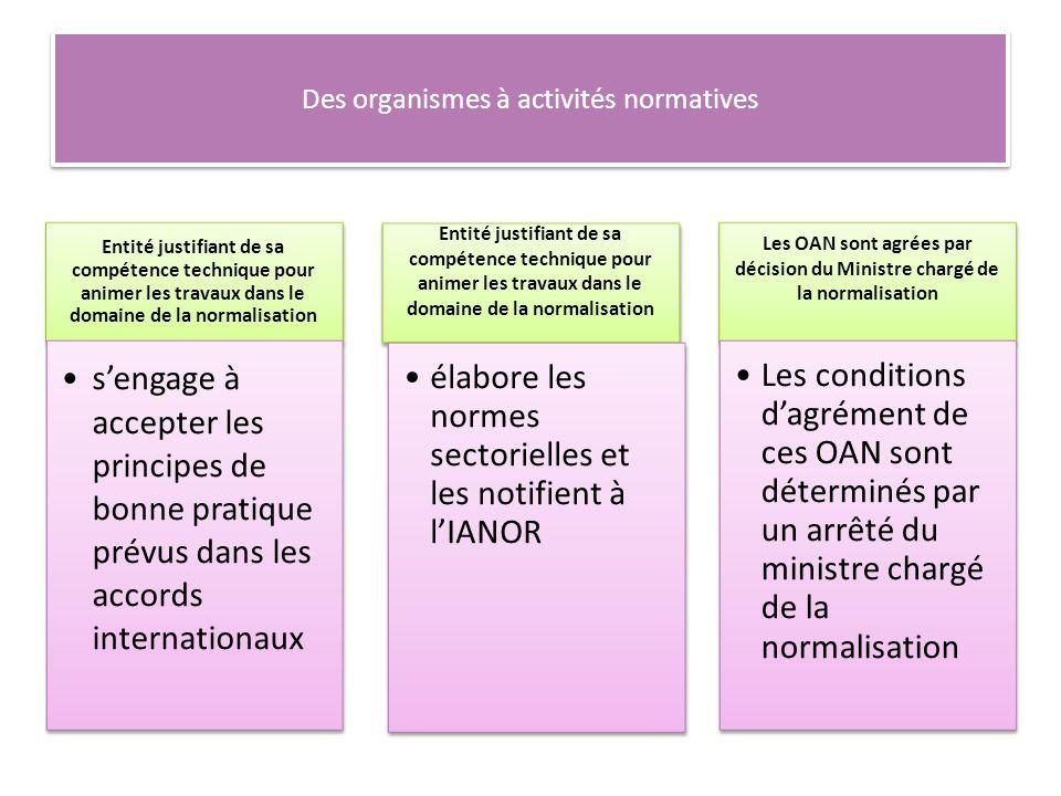 Des organismes à activités normatives Entité justifiant de sa compétence technique pour animer les travaux dans le domaine de la normalisation sengage