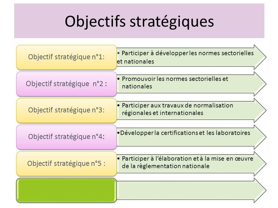 Objectifs stratégiques Participer à développer les normes sectorielles et nationales Objectif stratégique n°1: Promouvoir les normes sectorielles et n