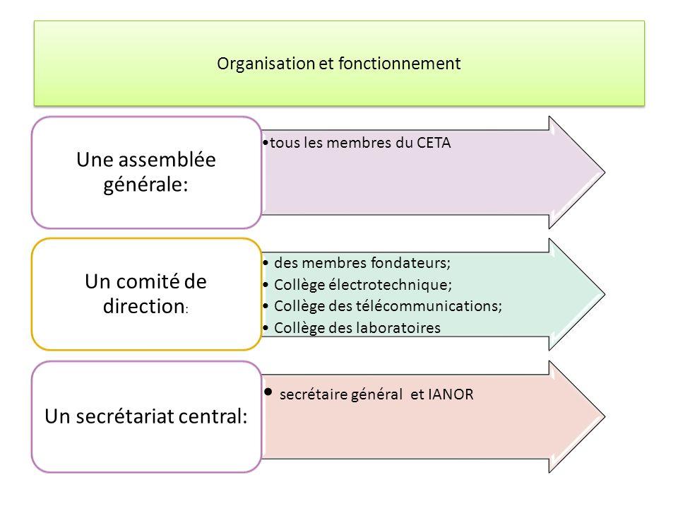 Organisation et fonctionnement Composition tous les membres du CETA Une assemblée générale: des membres fondateurs; Collège électrotechnique; Collège