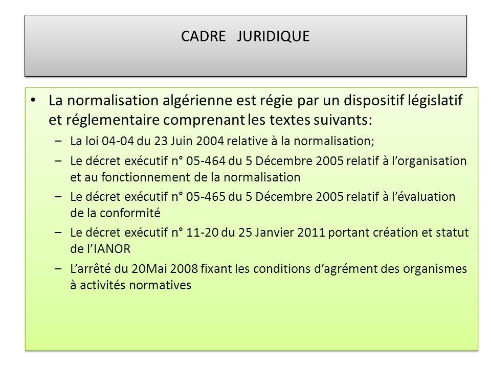 CADRE JURIDIQUE La normalisation algérienne est régie par un dispositif législatif et réglementaire comprenant les textes suivants: –La loi 04-04 du 2