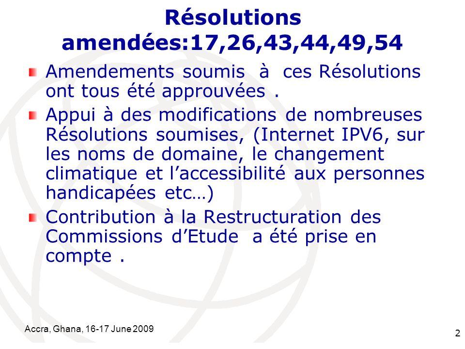 International Telecommunication Union Accra, Ghana, 16-17 June 2009 2 Résolutions amendées:17,26,43,44,49,54 Amendements soumis à ces Résolutions ont tous été approuvées.