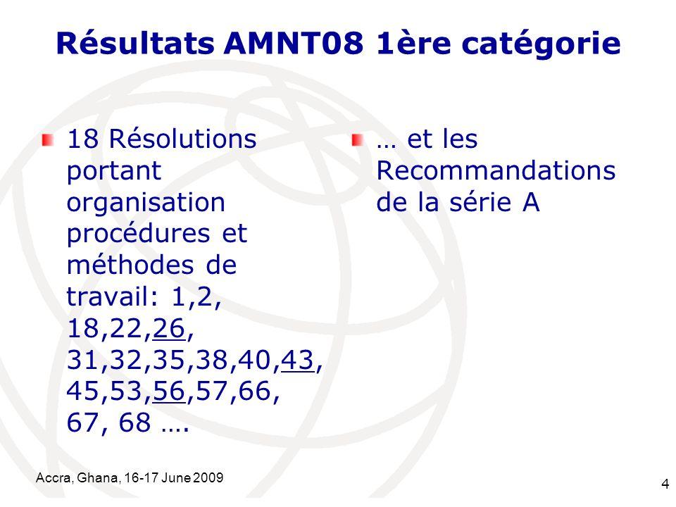 International Telecommunication Union Accra, Ghana, 16-17 June 2009 4 Résultats AMNT08 1ère catégorie 18 Résolutions portant organisation procédures et méthodes de travail: 1,2, 18,22,26, 31,32,35,38,40,43, 45,53,56,57,66, 67, 68 ….