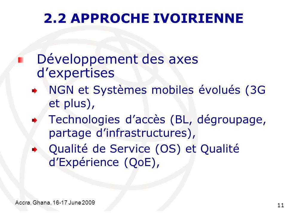 International Telecommunication Union Accra, Ghana, 16-17 June 2009 11 2.2 APPROCHE IVOIRIENNE Développement des axes dexpertises NGN et Systèmes mobiles évolués (3G et plus), Technologies daccès (BL, dégroupage, partage dinfrastructures), Qualité de Service (OS) et Qualité dExpérience (QoE),
