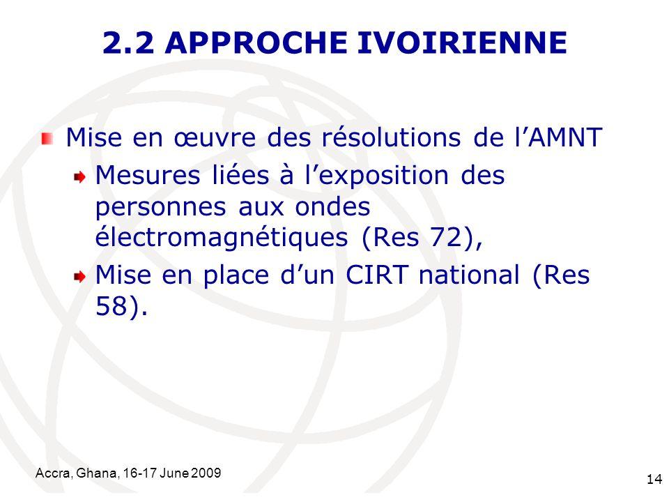 International Telecommunication Union Accra, Ghana, 16-17 June 2009 14 2.2 APPROCHE IVOIRIENNE Mise en œuvre des résolutions de lAMNT Mesures liées à lexposition des personnes aux ondes électromagnétiques (Res 72), Mise en place dun CIRT national (Res 58).