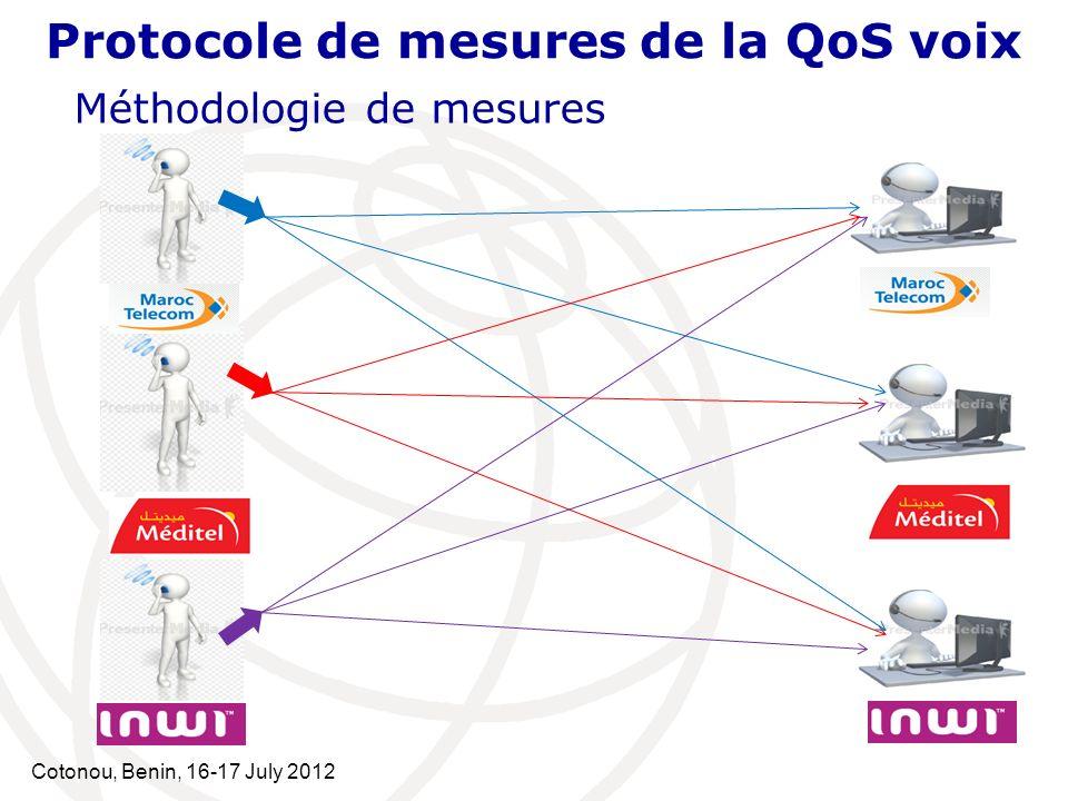 Cotonou, Benin, 16-17 July 2012 Protocole de mesures de la QoS voix Méthodologie de mesures