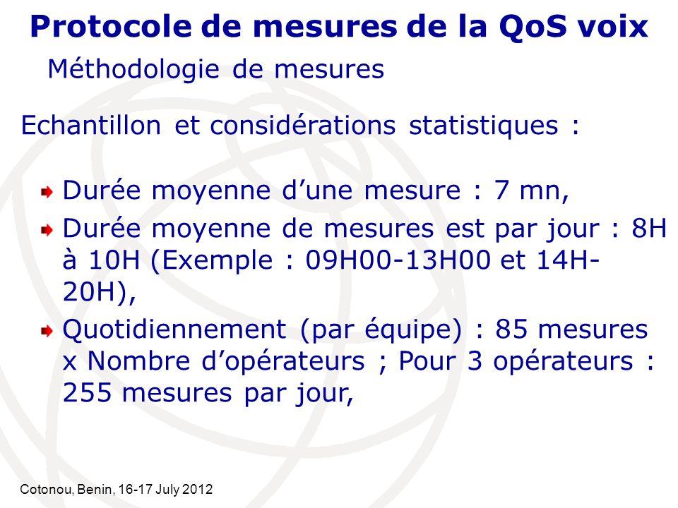 Cotonou, Benin, 16-17 July 2012 Protocole de mesures de la QoS voix Méthodologie de mesures Echantillon et considérations statistiques : Durée moyenne