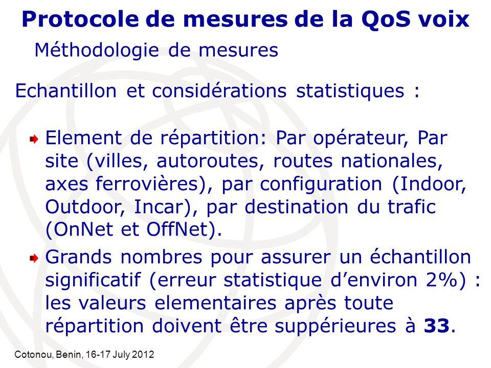Cotonou, Benin, 16-17 July 2012 Protocole de mesures de la QoS voix Méthodologie de mesures Echantillon et considérations statistiques : Element de ré