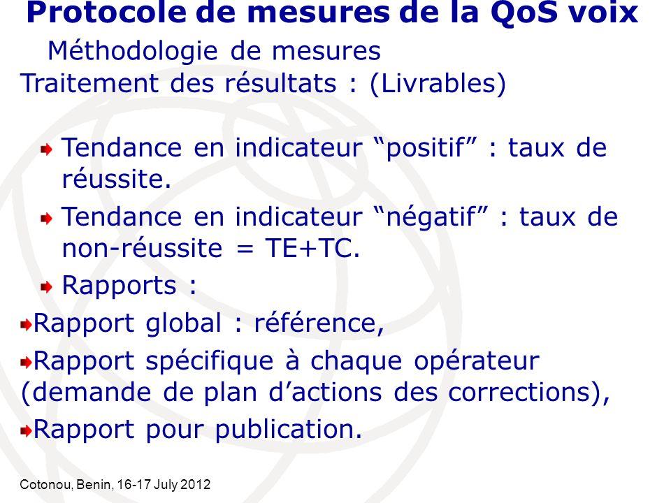 Cotonou, Benin, 16-17 July 2012 Protocole de mesures de la QoS voix Méthodologie de mesures Traitement des résultats : (Livrables) Tendance en indicat