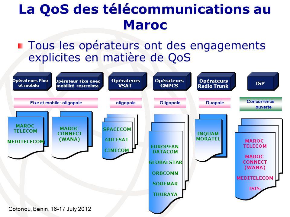 Cotonou, Benin, 16-17 July 2012 Tous les opérateurs ont des engagements explicites en matière de QoS La QoS des télécommunications au Maroc Opérateurs
