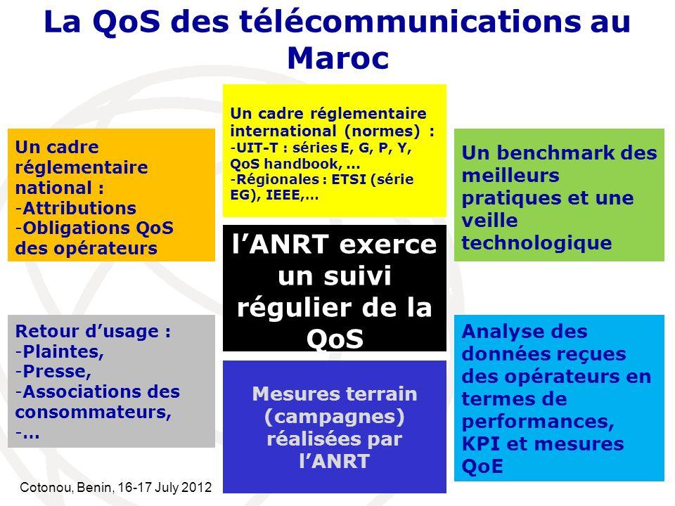 Cotonou, Benin, 16-17 July 2012 La QoS des télécommunications au Maroc lANRT exerce un suivi régulier de la QoS Un cadre réglementaire national : -Att