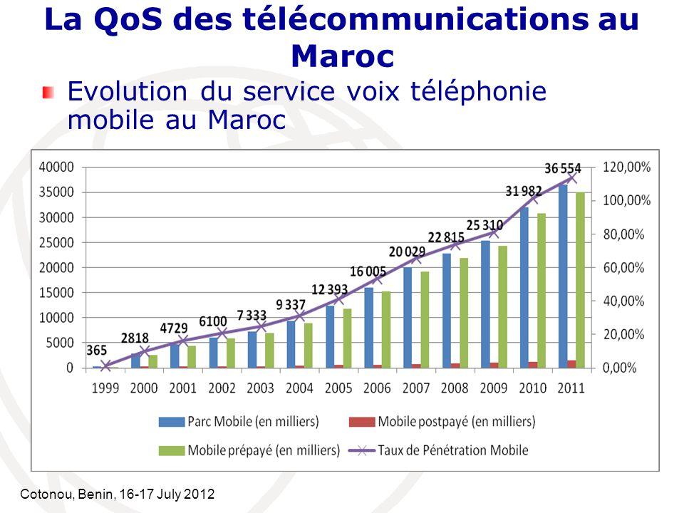 Cotonou, Benin, 16-17 July 2012 Evolution du service voix téléphonie mobile au Maroc La QoS des télécommunications au Maroc