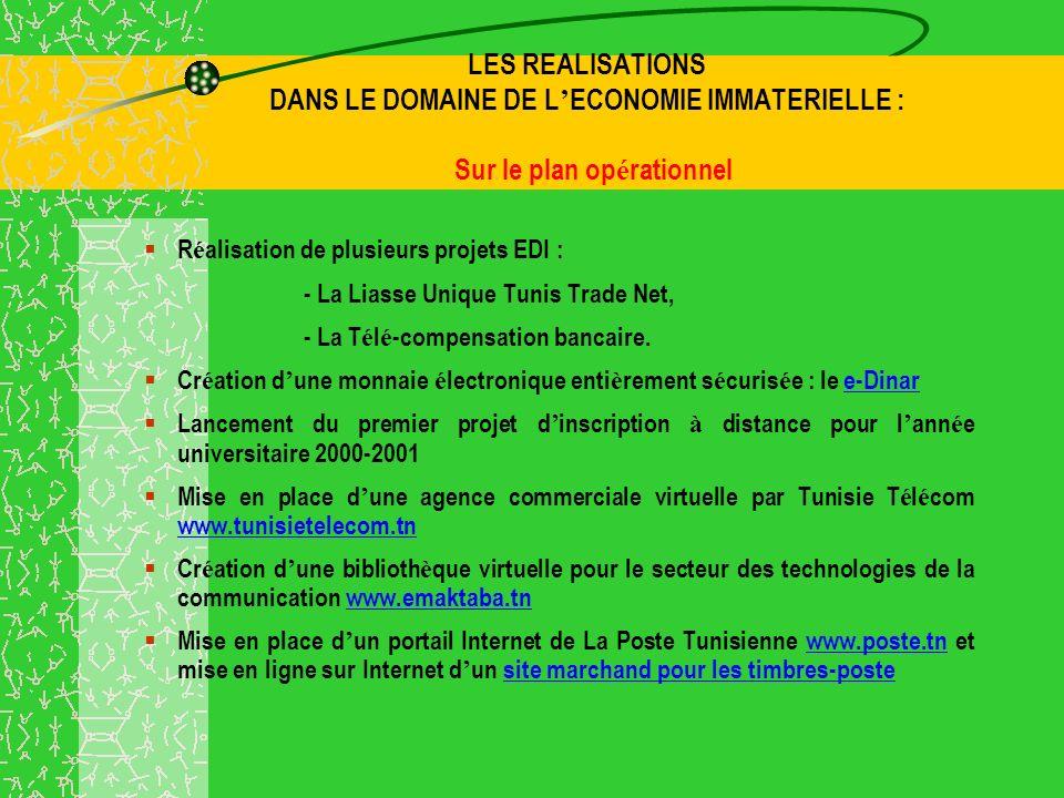 LES REALISATIONS DANS LE DOMAINE DE L ECONOMIE IMMATERIELLE : Sur le plan op é rationnel R é alisation de plusieurs projets EDI : - La Liasse Unique Tunis Trade Net, - La T é l é -compensation bancaire.
