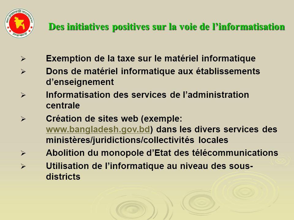 Des initiatives positives sur la voie de linformatisation Exemption de la taxe sur le matériel informatique Dons de matériel informatique aux établiss