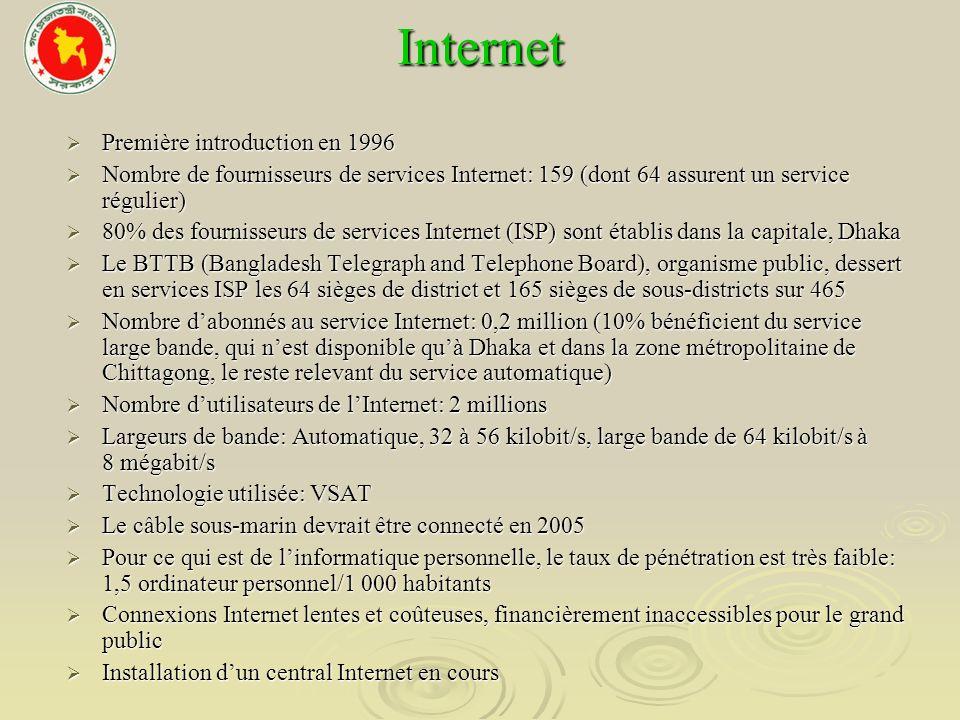 Internet Première introduction en 1996 Première introduction en 1996 Nombre de fournisseurs de services Internet: 159 (dont 64 assurent un service rég