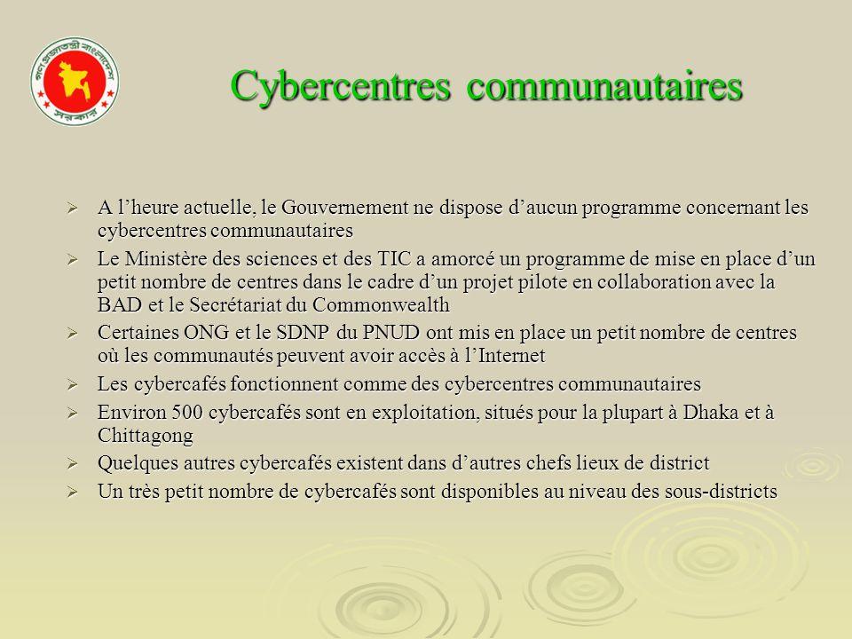 Cybercentres communautaires Cybercentres communautaires A lheure actuelle, le Gouvernement ne dispose daucun programme concernant les cybercentres com
