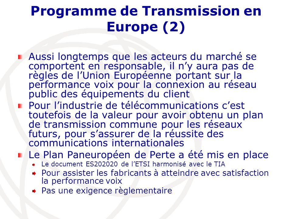 Programme de Transmission en Europe (2) Aussi longtemps que les acteurs du marché se comportent en responsable, il ny aura pas de règles de lUnion Eur