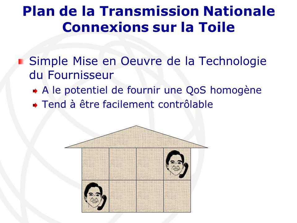 Plan de la Transmission Nationale Connexions sur la Toile Simple Mise en Oeuvre de la Technologie du Fournisseur A le potentiel de fournir une QoS hom