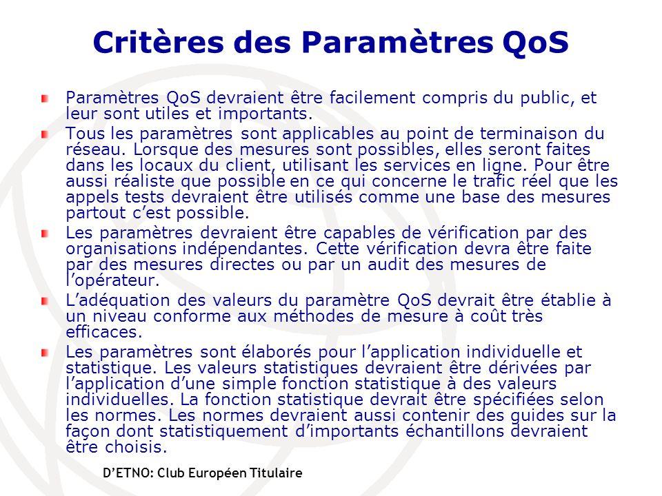 Critères des Paramètres QoS Paramètres QoS devraient être facilement compris du public, et leur sont utiles et importants. Tous les paramètres sont ap