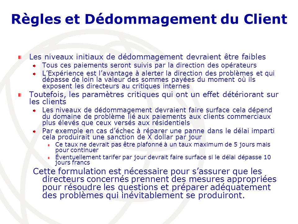 Règles et Dédommagement du Client Les niveaux initiaux de dédommagement devraient être faibles Tous ces paiements seront suivis par la direction des o