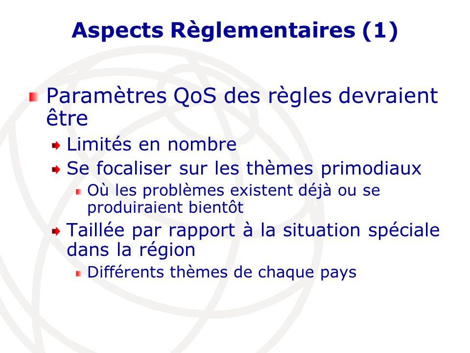 Aspects Règlementaires (2) Les opérateurs de réseau mais aussi les clients ont une expérience Avec les règles & donnant la QoS dans dautres pays de la région Pour des Régulateurs Nationaux cest important de prouver Régime à règles individualisées Mais pas de réinvention de la roue Pas de surendettement des opérateurs