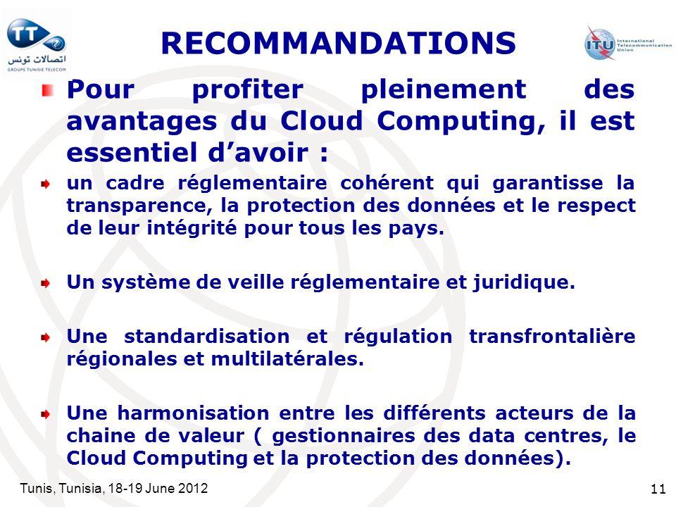 Tunis, Tunisia, 18-19 June 2012 11 RECOMMANDATIONS Pour profiter pleinement des avantages du Cloud Computing, il est essentiel davoir : un cadre réglementaire cohérent qui garantisse la transparence, la protection des données et le respect de leur intégrité pour tous les pays.