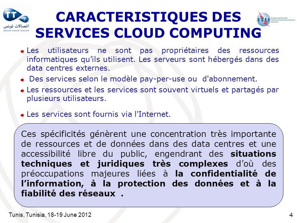 Tunis, Tunisia, 18-19 June 2012 4 CARACTERISTIQUES DES SERVICES CLOUD COMPUTING Les utilisateurs ne sont pas propriétaires des ressources informatiques quils utilisent.