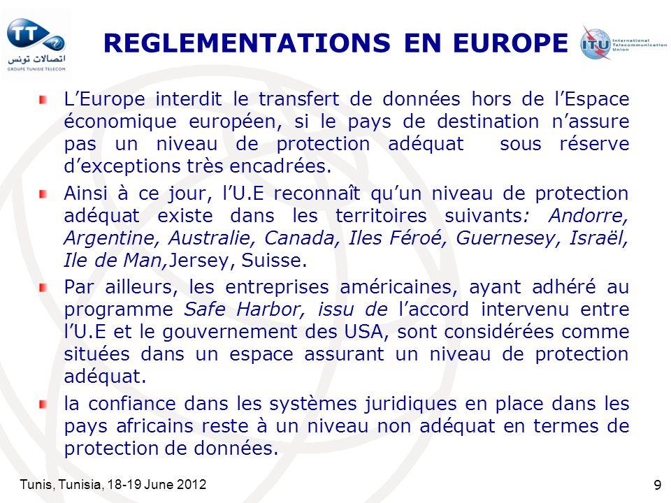 Tunis, Tunisia, 18-19 June 2012 9 REGLEMENTATIONS EN EUROPE LEurope interdit le transfert de données hors de lEspace économique européen, si le pays de destination nassure pas un niveau de protection adéquat sous réserve dexceptions très encadrées.