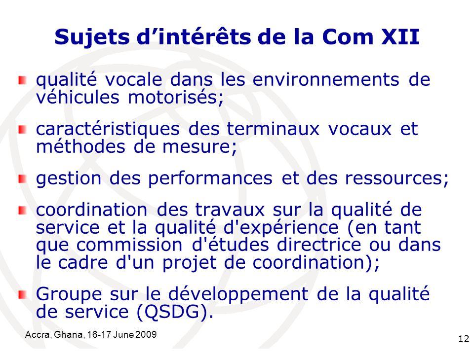International Telecommunication Union Accra, Ghana, 16-17 June 2009 12 qualité vocale dans les environnements de véhicules motorisés; caractéristiques