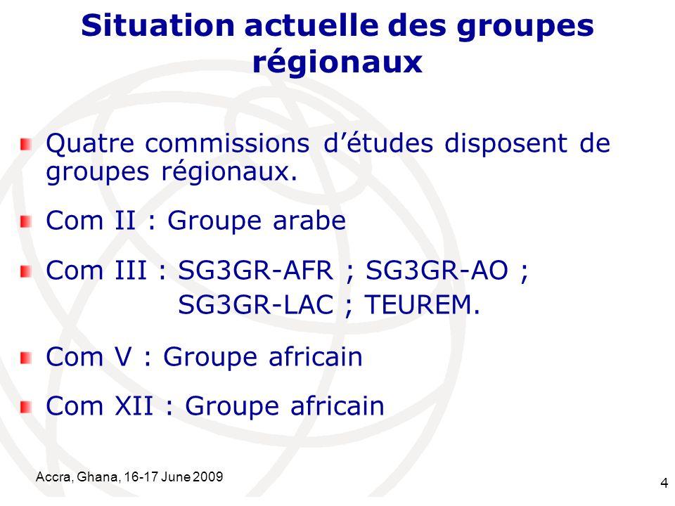 International Telecommunication Union Accra, Ghana, 16-17 June 2009 15 Participation aux travaux de la Com III et du SG3RG-AFR