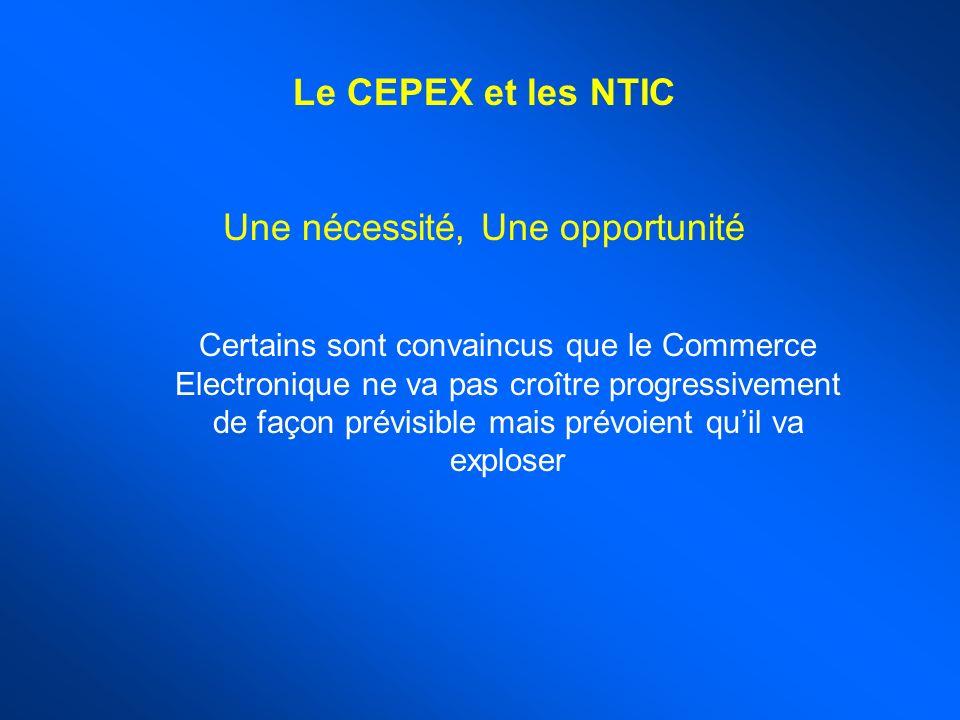 Le CEPEX et les NTIC Une nécessité, Une opportunité Certains sont convaincus que le Commerce Electronique ne va pas croître progressivement de façon prévisible mais prévoient quil va exploser