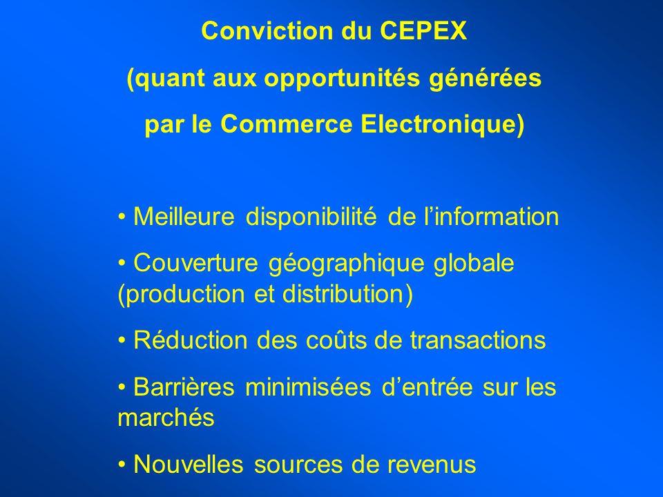 Conviction du CEPEX (quant aux opportunités générées par le Commerce Electronique) Meilleure disponibilité de linformation Couverture géographique globale (production et distribution) Réduction des coûts de transactions Barrières minimisées dentrée sur les marchés Nouvelles sources de revenus