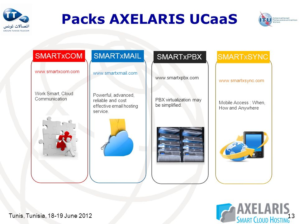 Tunis, Tunisia, 18-19 June 2012 13 Packs AXELARIS UCaaS SMARTxCOM SMARTxMAIL www.smartxcom.com Work Smart, Cloud Communication www.smartxmail.com Powerful, advanced, reliable and cost effective email hosting service.