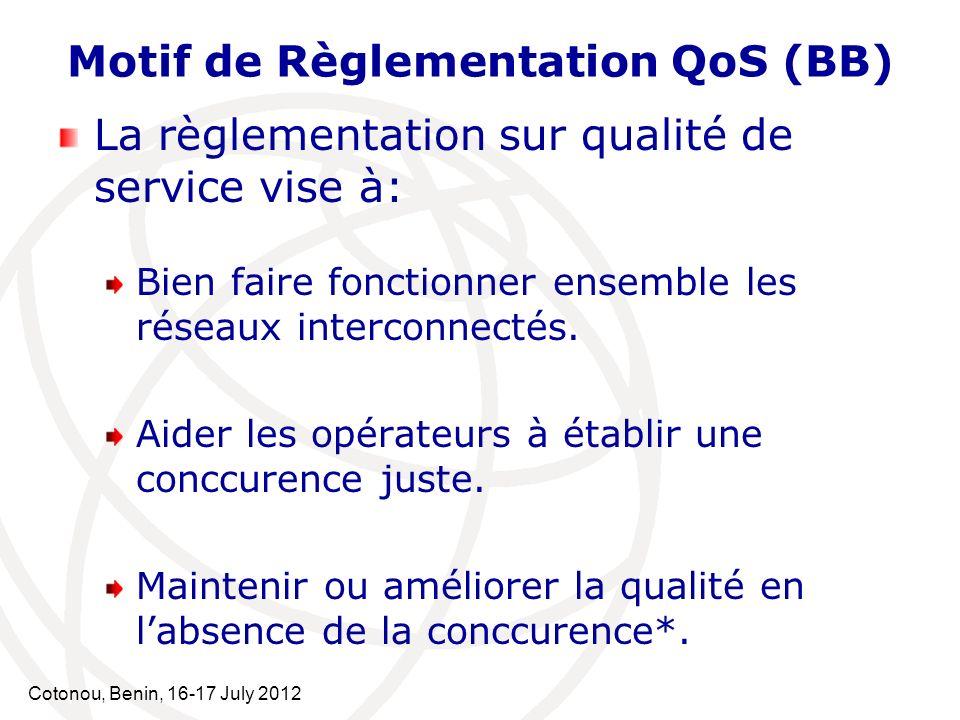 Cotonou, Benin, 16-17 July 2012 Motif de Règlementation QoS (BB) La règlementation sur la Qualité de Service vise à: Comprendre létat du marché.