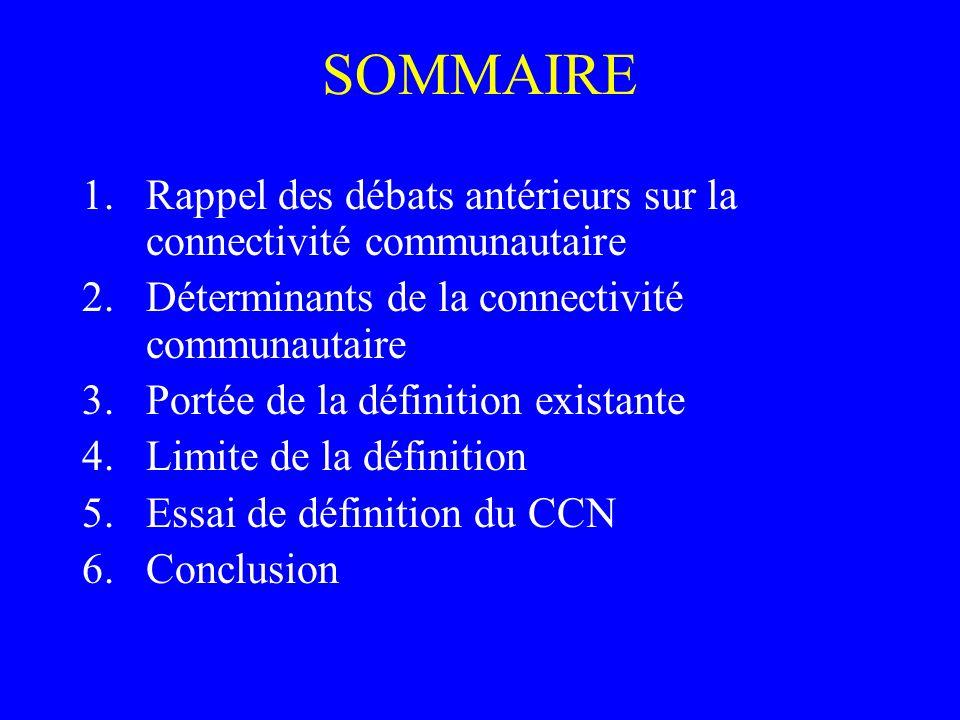 SOMMAIRE 1.Rappel des débats antérieurs sur la connectivité communautaire 2.Déterminants de la connectivité communautaire 3.Portée de la définition ex