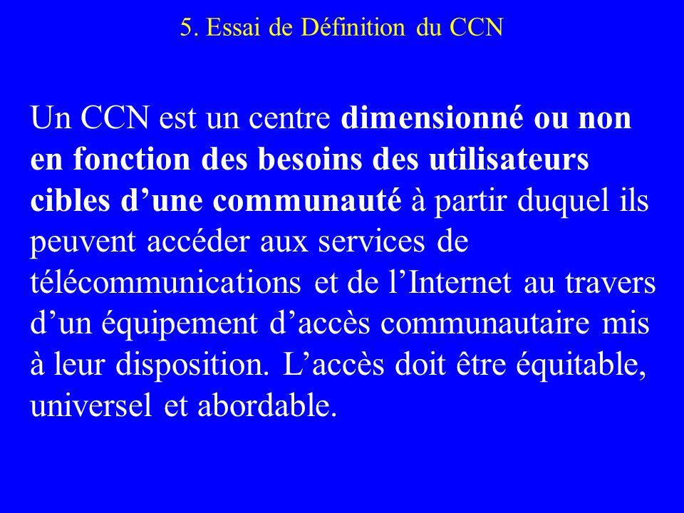 5. Essai de Définition du CCN Un CCN est un centre dimensionné ou non en fonction des besoins des utilisateurs cibles dune communauté à partir duquel