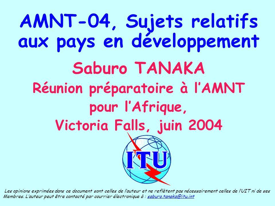 AMNT-04, Sujets relatifs aux pays en développement Saburo TANAKA Réunion préparatoire à lAMNT pour lAfrique, Victoria Falls, juin 2004 Les opinions exprimées dans ce document sont celles de lauteur et ne reflètent pas nécessairement celles de lUIT ni de ses Membres.