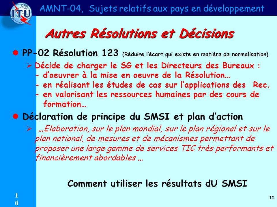 AMNT-04, Sujets relatifs aux pays en développement 1010 10 Autres Résolutions et Décisions PP-02 Résolution 123 (Réduire lécart qui existe en matière