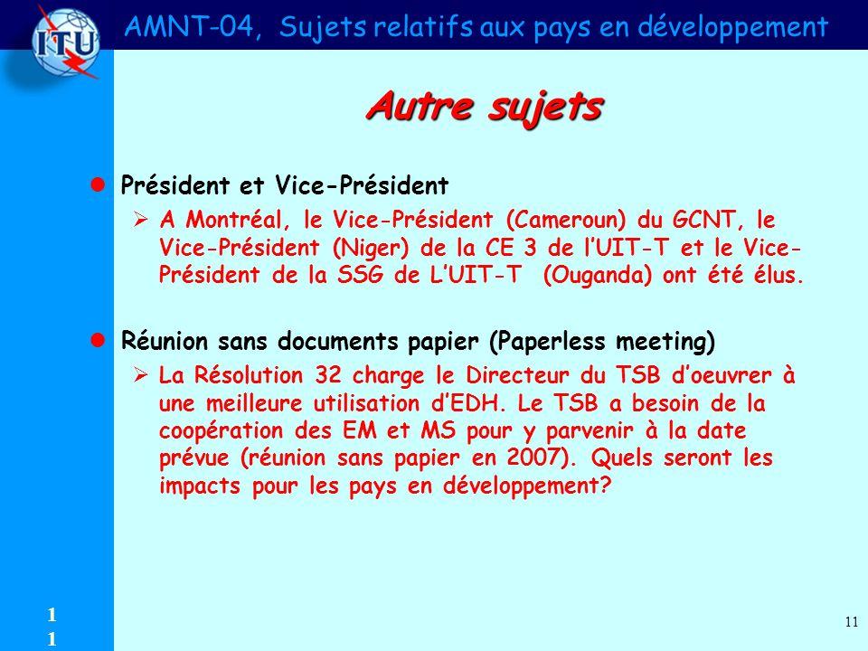 AMNT-04, Sujets relatifs aux pays en développement 1 11 Autre sujets Président et Vice-Président A Montréal, le Vice-Président (Cameroun) du GCNT, le Vice-Président (Niger) de la CE 3 de lUIT-T et le Vice- Président de la SSG de LUIT-T (Ouganda) ont été élus.