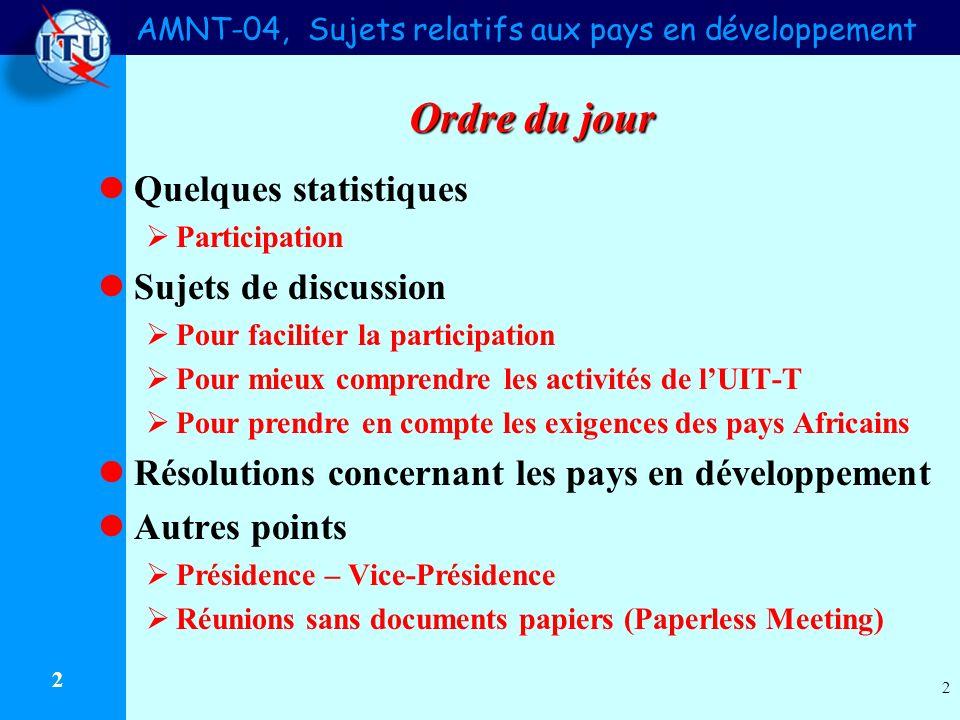 AMNT-04, Sujets relatifs aux pays en développement 2 2 Ordre du jour Quelques statistiques Participation Sujets de discussion Pour faciliter la partic