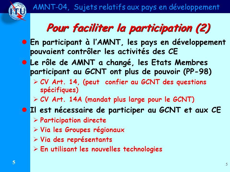 AMNT-04, Sujets relatifs aux pays en développement 5 5 Pour faciliter la participation (2) En participant à lAMNT, les pays en développement pouvaient contrôler les activités des CE Le rôle de AMNT a changé, les Etats Membres participant au GCNT ont plus de pouvoir (PP-98) CV Art.